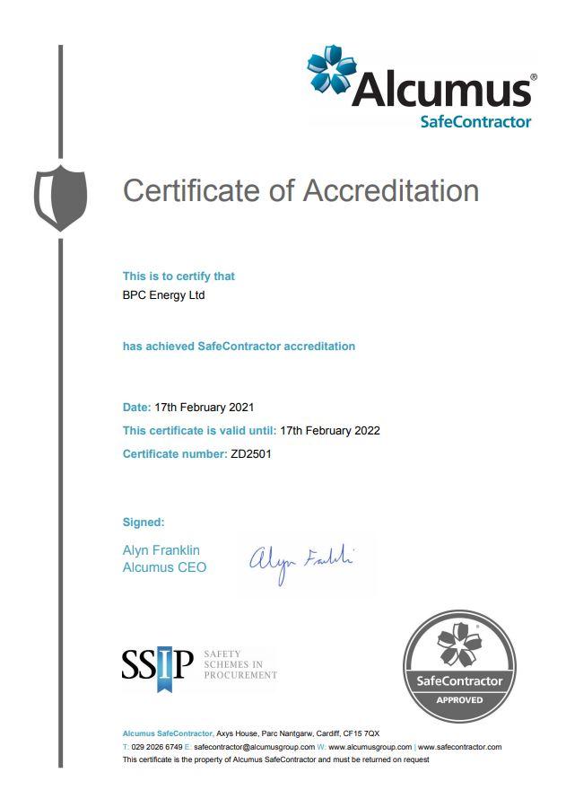 SafeContractor Certificate 2021